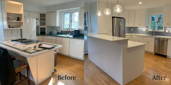 Before and after photo of a kitchen remodel